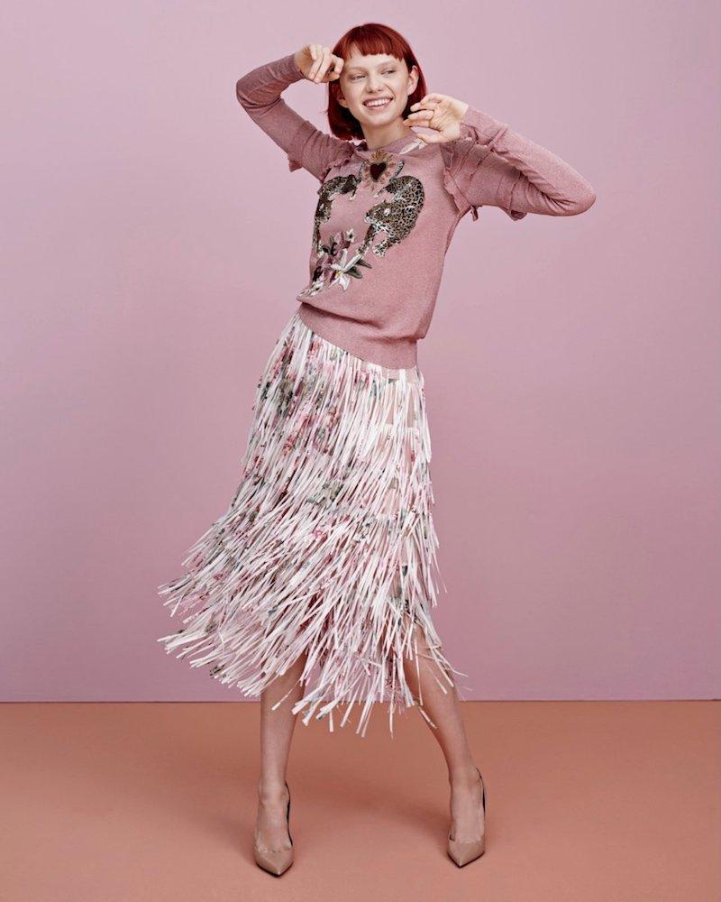 Dolce & Gabbana Long-Sleeve Metallic Leopard Patch Pullover Sweater