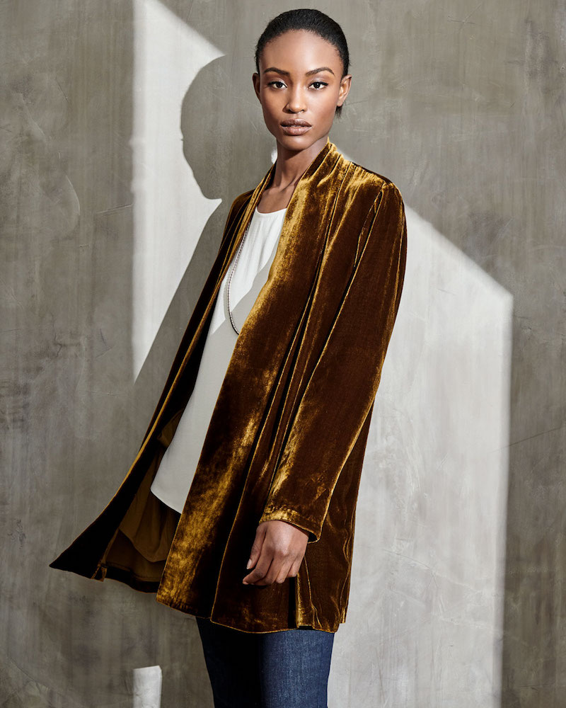 Eileen Fisher Velvet Long Shawl-Collar Jacket