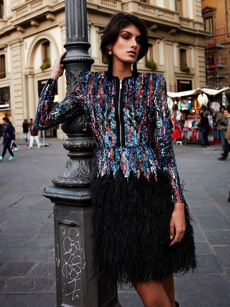 Elie Saab Feather-Trimmed Embellished Tulle Dress