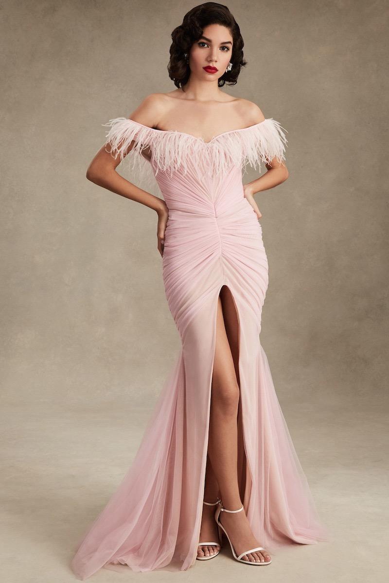 Ester Abner Off The Shoulder Feather Dress