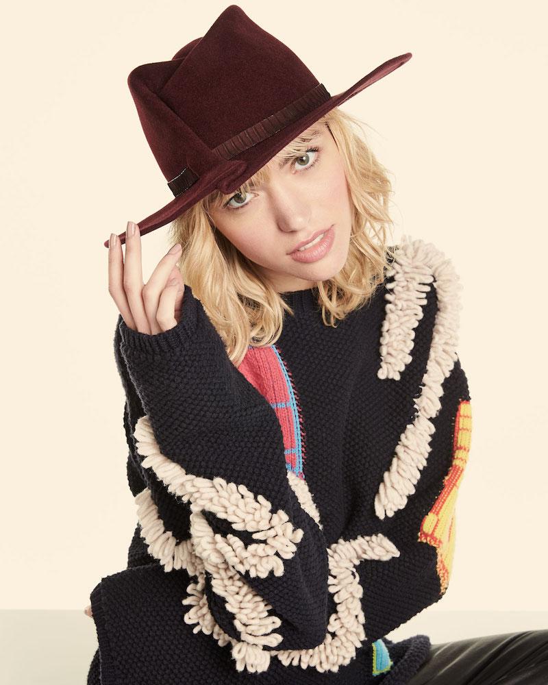 Eugenia Kim Giovanna Snakeskin-Band Fedora Hat