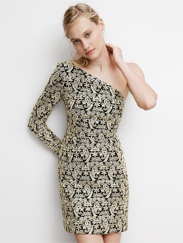 Nicole Miller Gold Sequin Paisley One Shoulder Dress