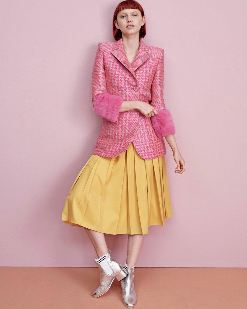 Fendi Pleated Gabardine Midi Skirt