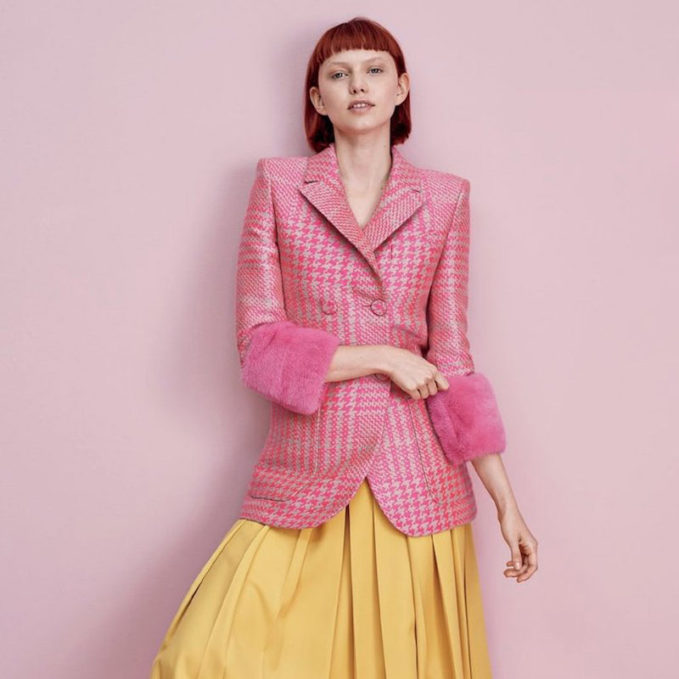 Fendi Princes of Wales Check Jacket with Fur Cuffs