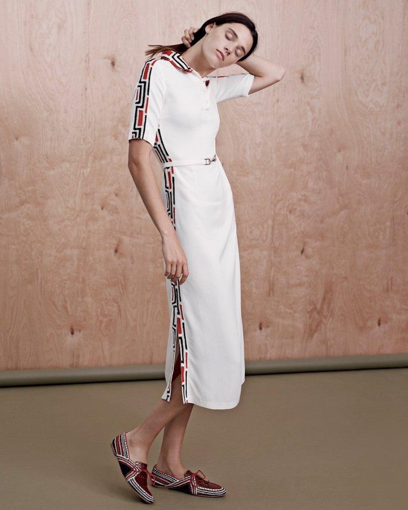 Gabriela Hearst Crochet-Trim Midi Polo Dress