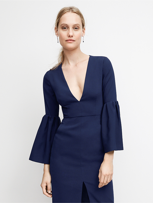 Jill Jill Stuart V Neck Bell Sleeve Cocktail