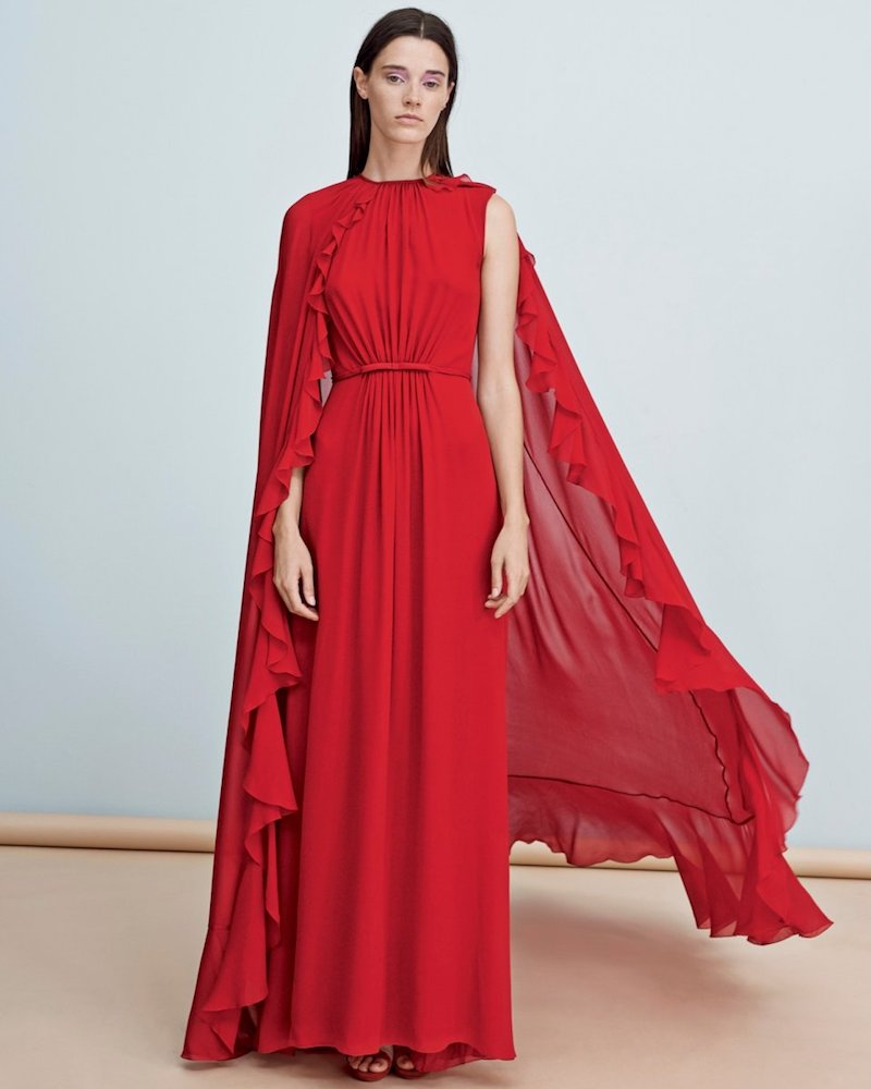 Giambattista Valli Gown in Red Silk with Cinched Waist and Ruffle Cape Overlay