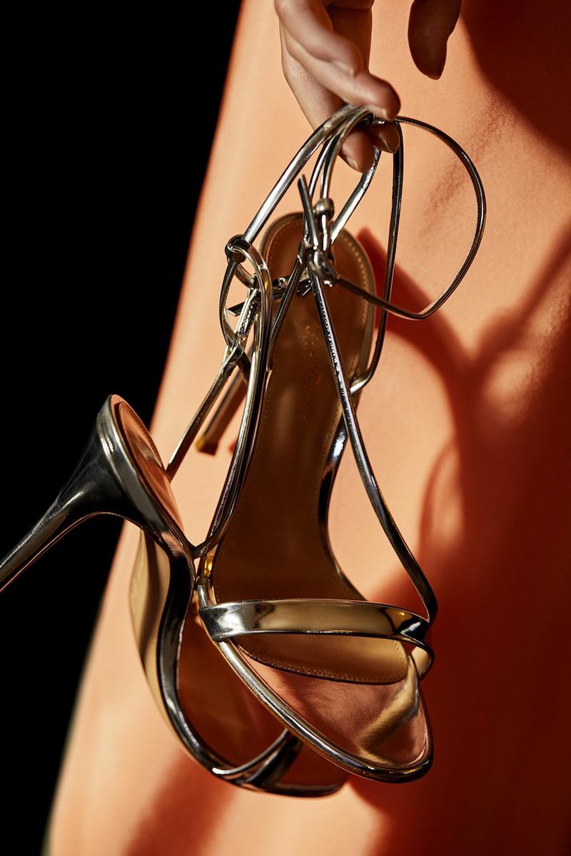 Gianvito Rossi Carlyle Specchio Leather Sandals