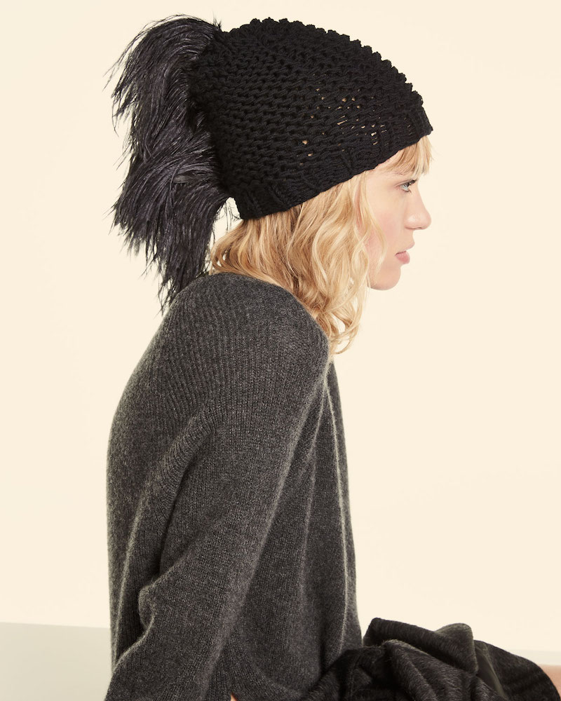 Gigi Burris Claudelle Wool-Cashmere Knit Beanie with Feather Plume