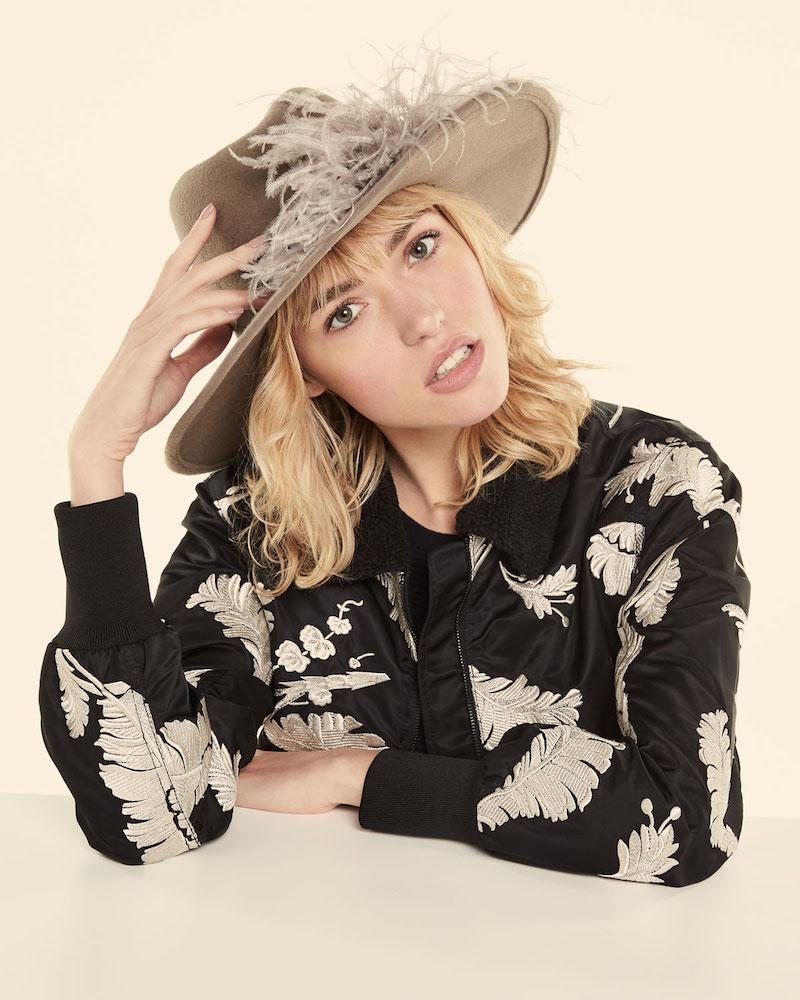 Gigi Burris Jeanne Felt Fedora Hat with Feather Trim