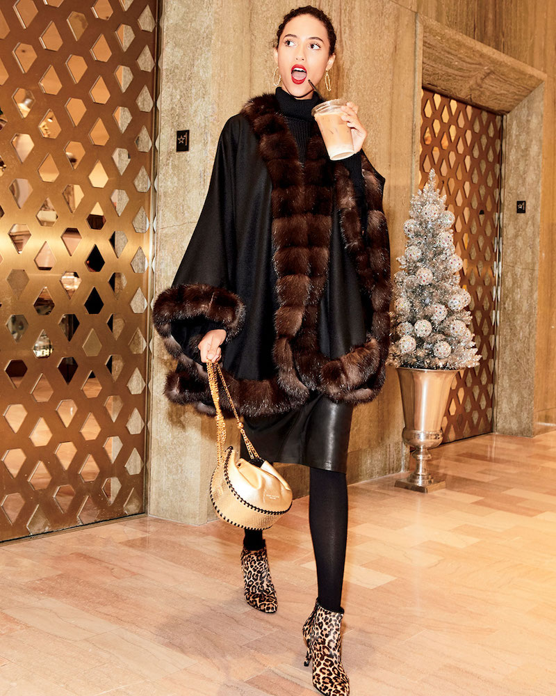 Gorski Cashmere Cape with Sable Fur Trim