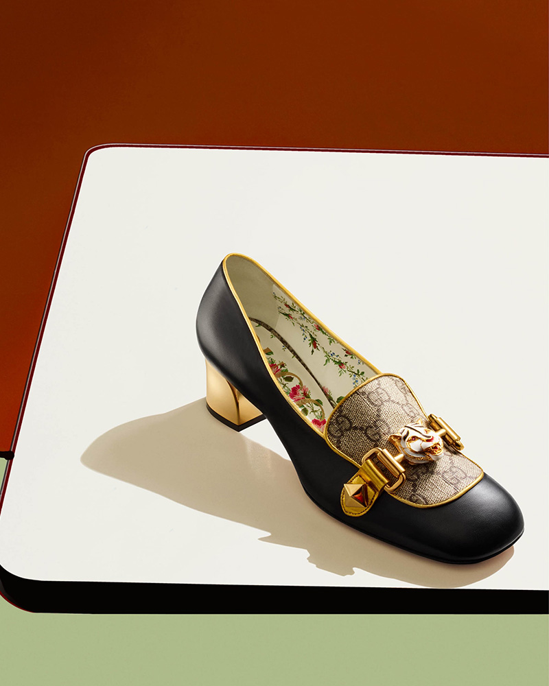 Gucci Cheryl Leather & Canvas Pumps