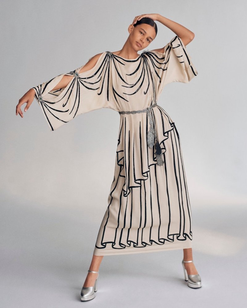 Gucci Light Georgette Tunic Gown with Trompe-l'Oeil Embroidery