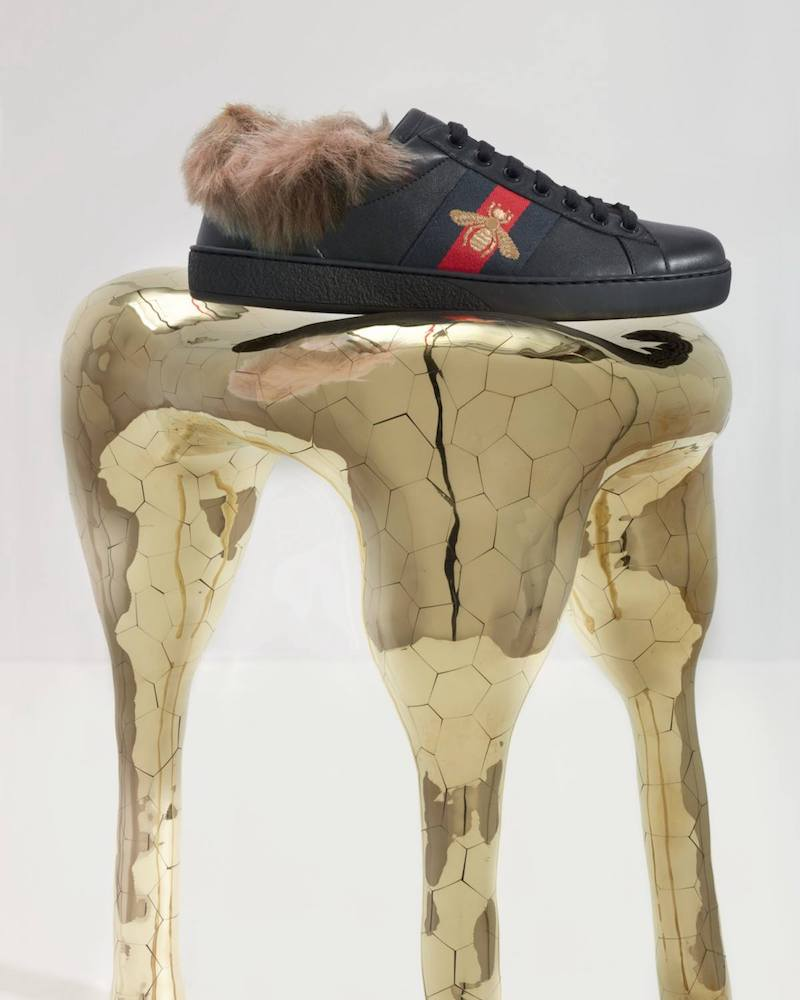 Gucci New Ace Fur-Lined Sneakers