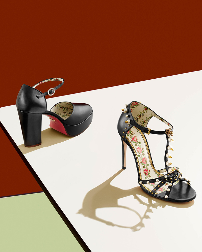 Gucci Regina Leather T-Strap Sandals