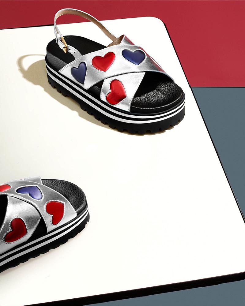 Gucci Sunrise Metallic Leather Platform Sandals