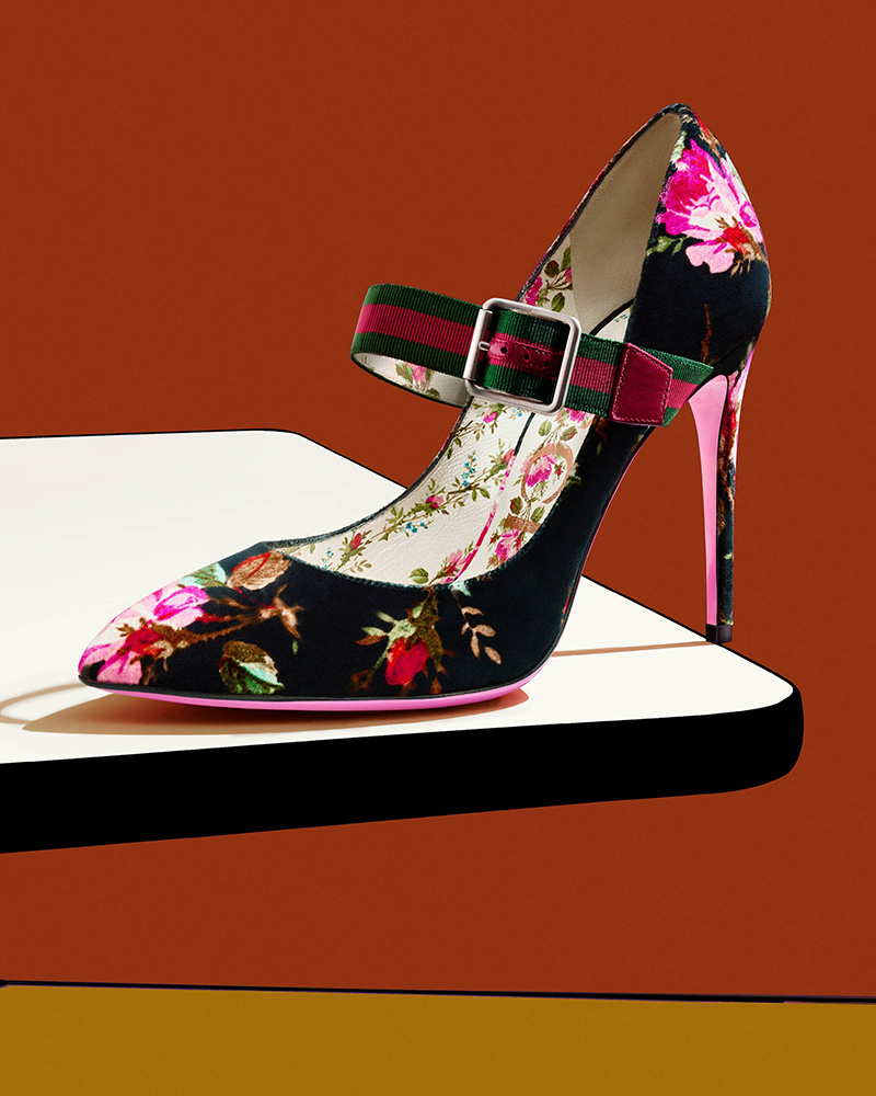 Gucci Sylvie Velvet Mary Jane Pumps