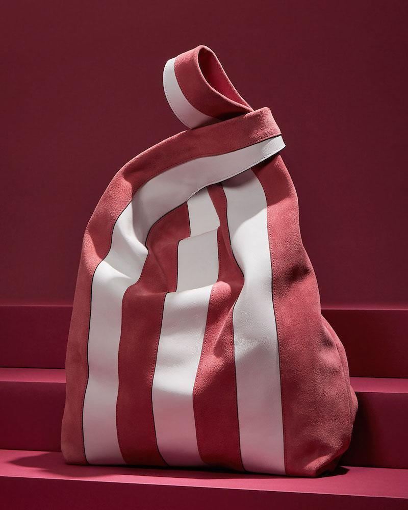 Hayward Suede & Leather Stripe Shopper Tote Bag