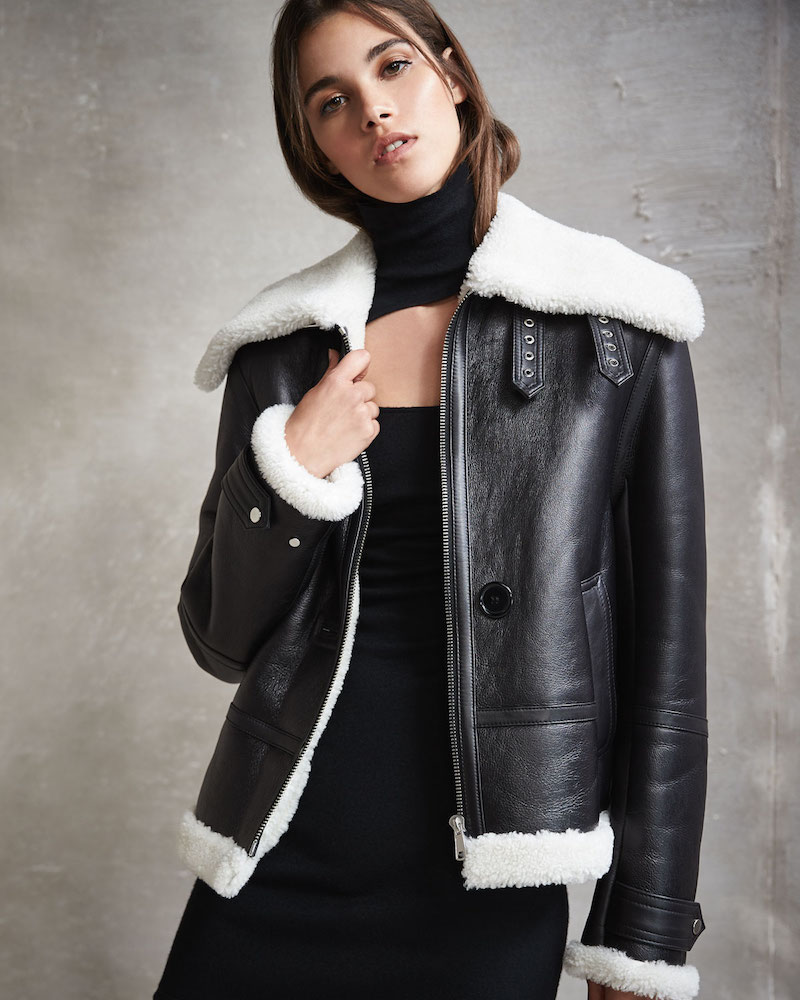 Helmut Lang Aviator Zip-Front Shearling/Leather Jacket