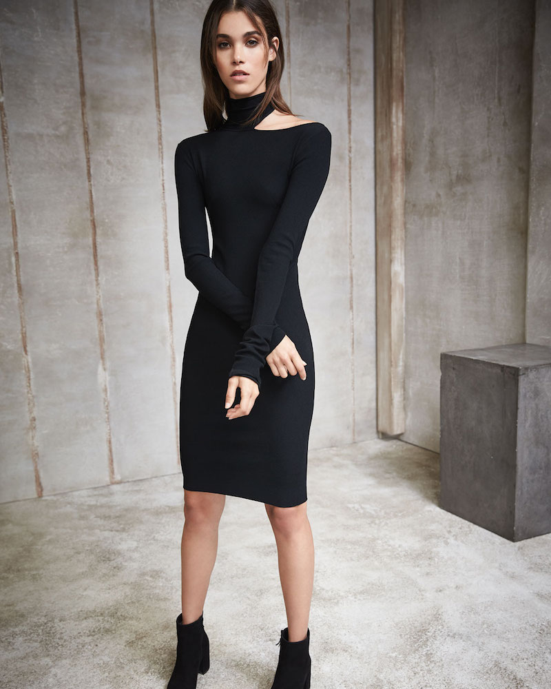 Helmut Lang Tieback Long-Sleeve Fitted Sweater Dress