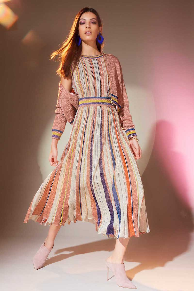 Intermix x Missoni Striped Lurex Pleated Dress