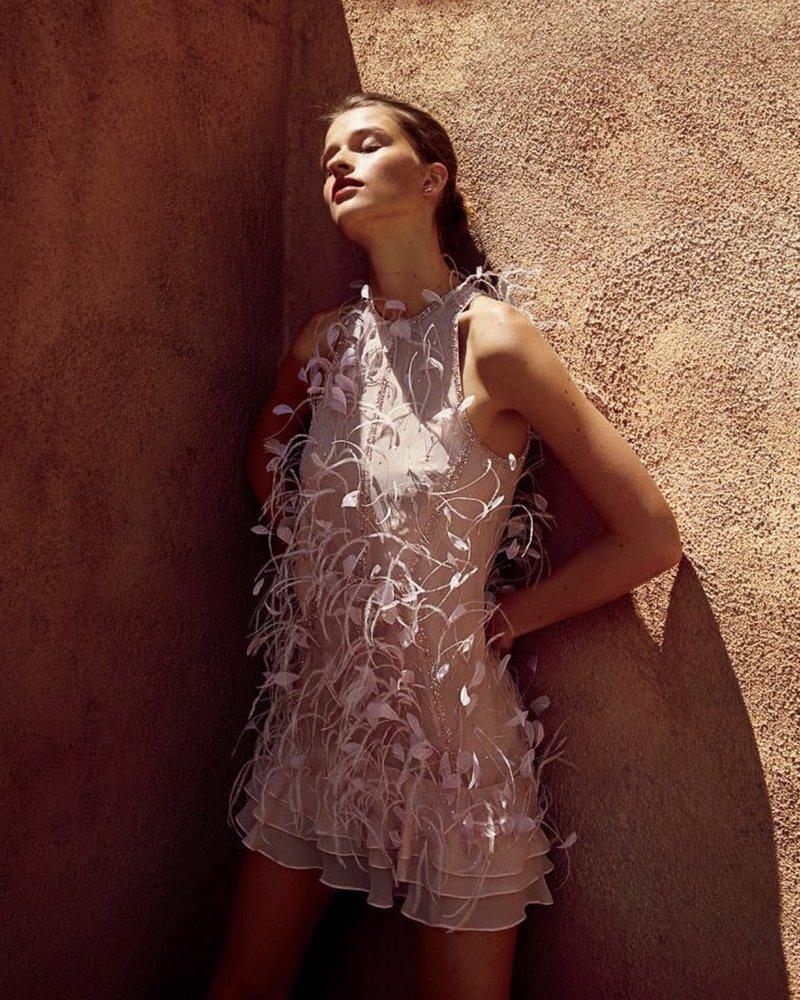 J. Mendel Glitter & Feathered Silk Dress