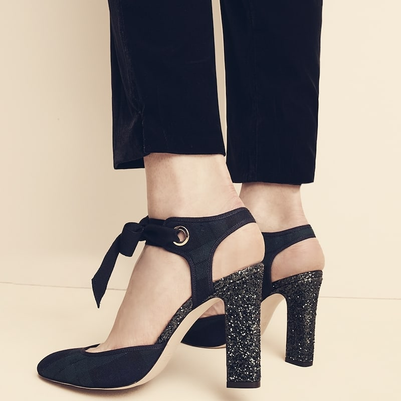 J.Crew Black Watch Pumps With Glitter Heel
