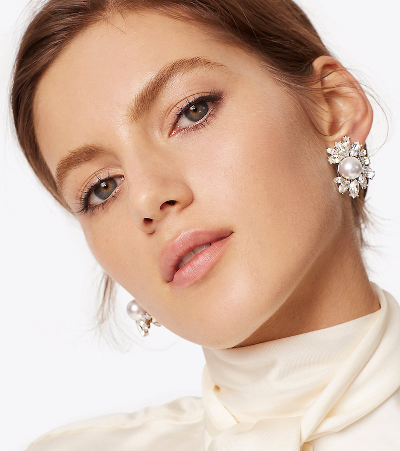 Kenneth Jay Lane for Tory Burch Crystal Pearl Earring in White