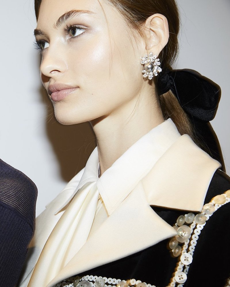 Kenneth Jay Lane for Tory Burch Crystal Pearl Earring