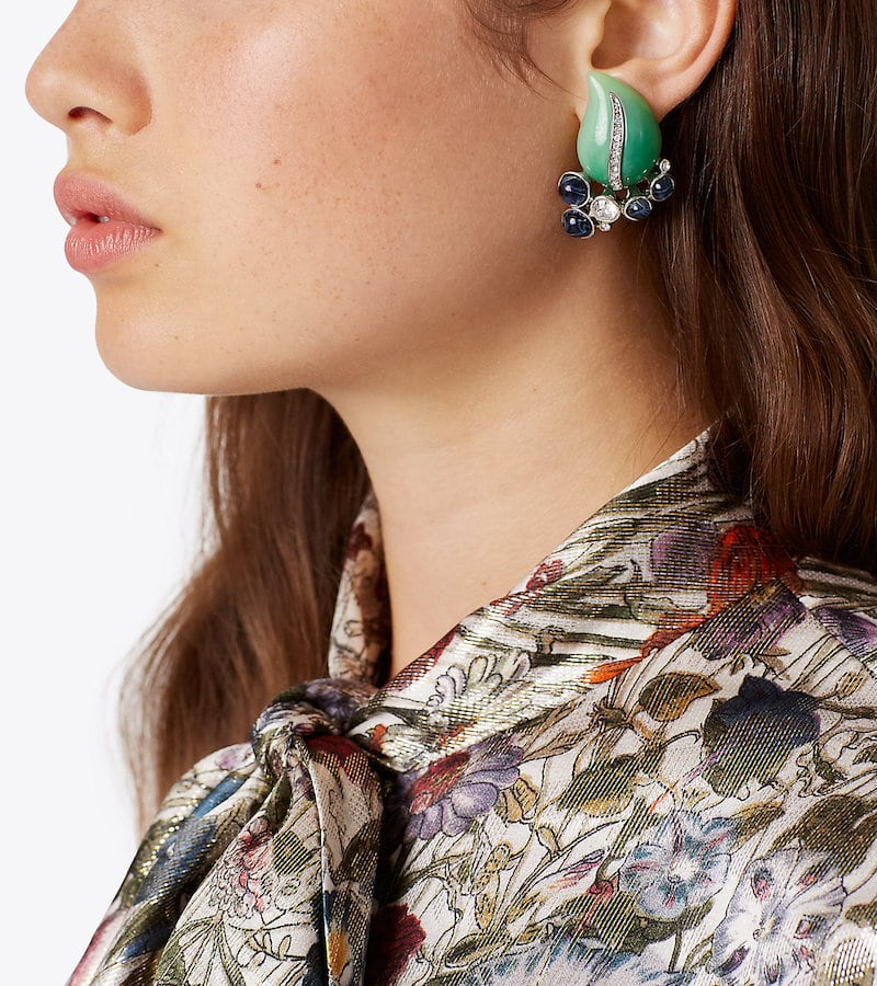Kenneth Jay Lane for Tory Burch Leaf Earring in Jade