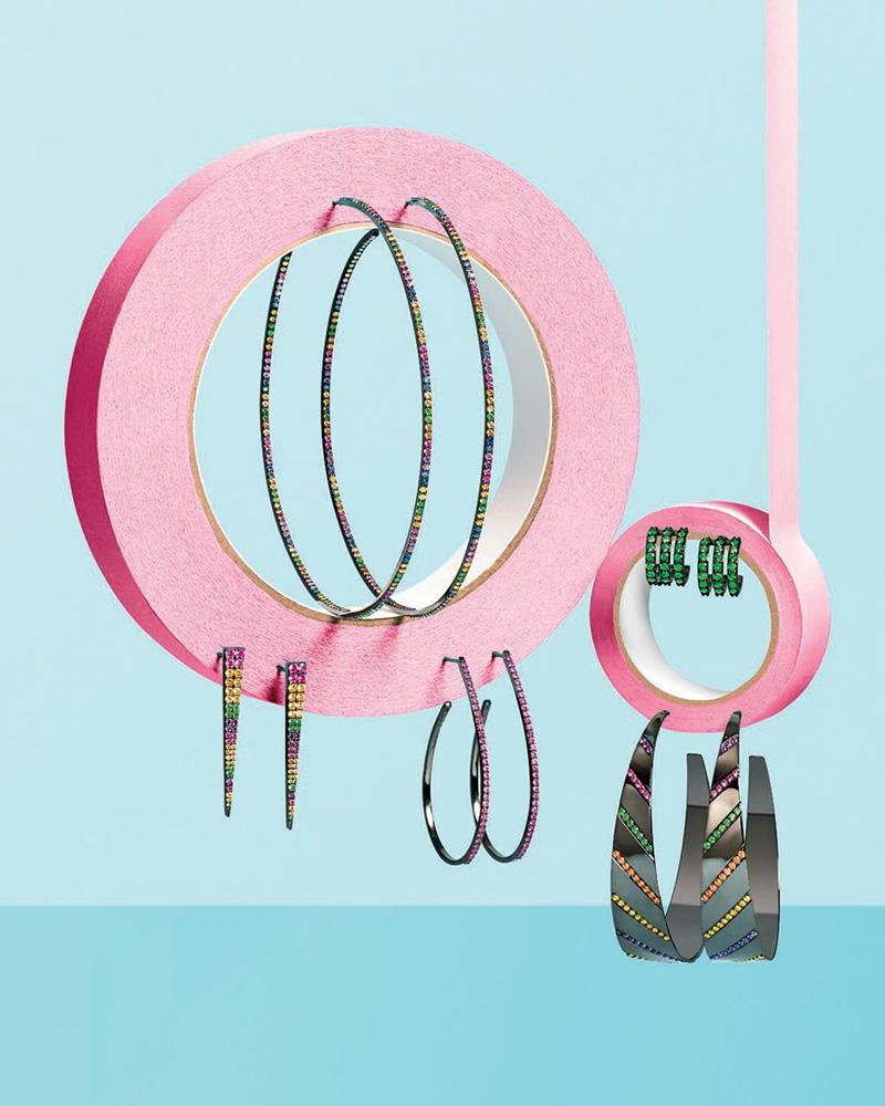 LANA Electric Rainbow Sapphire Oval Hoop Earrings