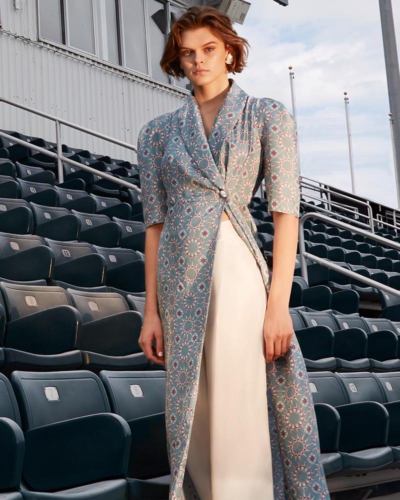 Lake Studio Midi Swimmer Print Robe Dress