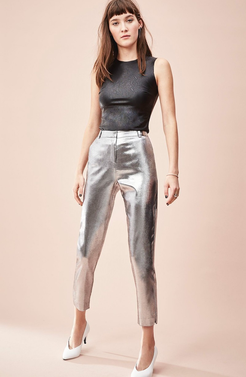 Leith Satin High Waist Ankle Pants