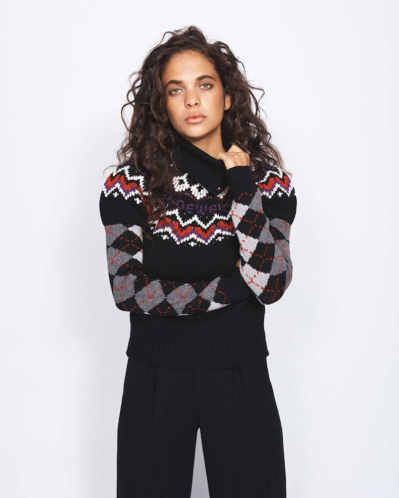Loewe Roll-Neck Argyle-Intarsia Wool-Blend Knit Sweater