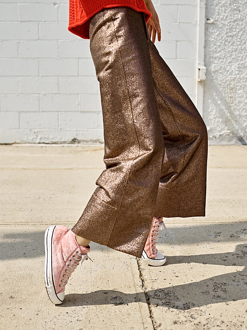 Madewell Langford Wide-Leg Crop Pants In Metallic