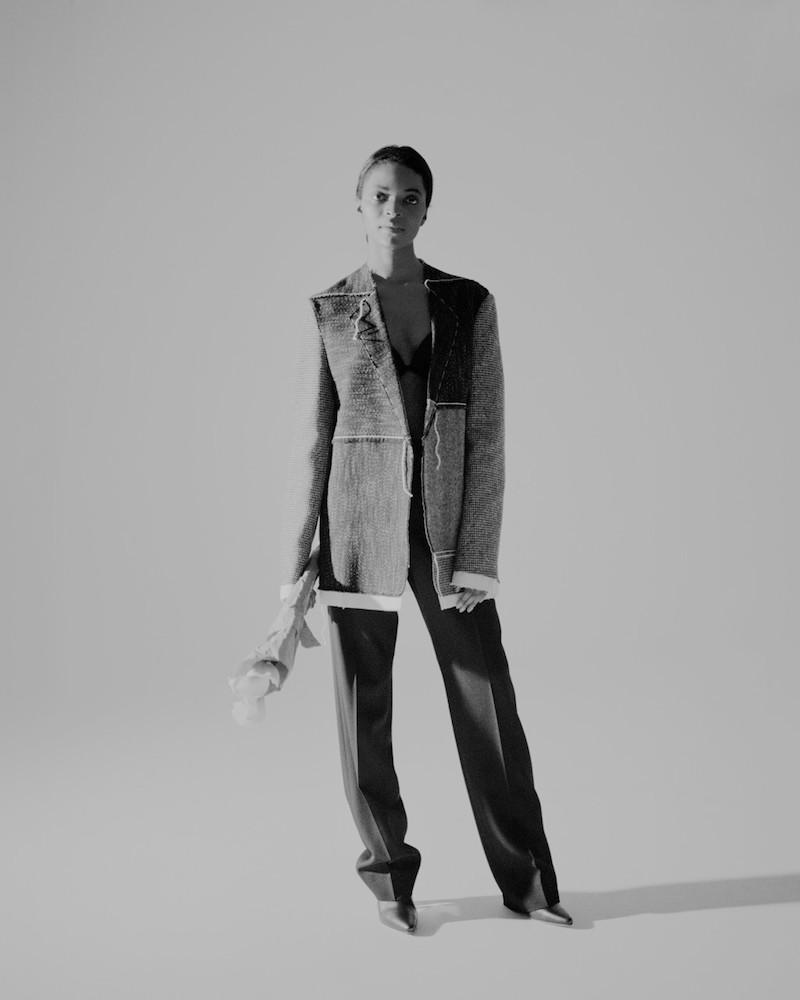 Maison Margiela Black & White Long Patchwork Coat