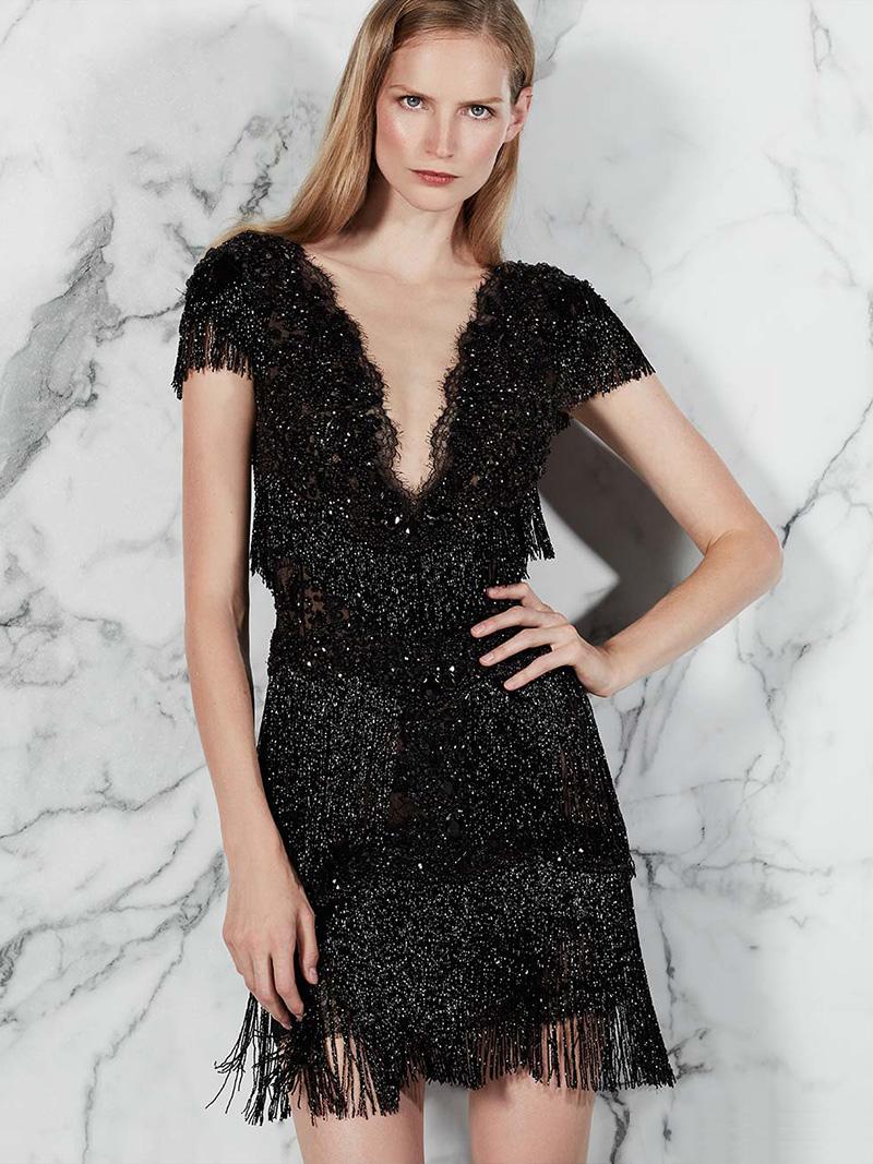 Marchesa Beaded Short-Sleeve Fringe Cocktail Dress