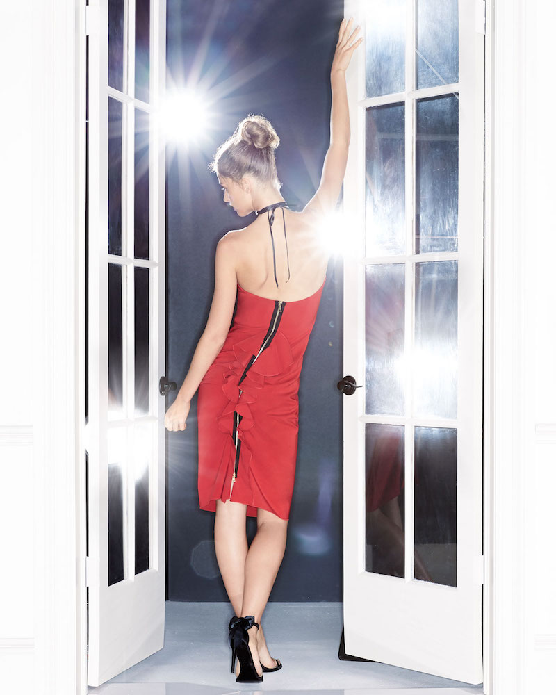 Maria Bianca Nero Cameron Strapless Back-Ruffle Cocktail Dress