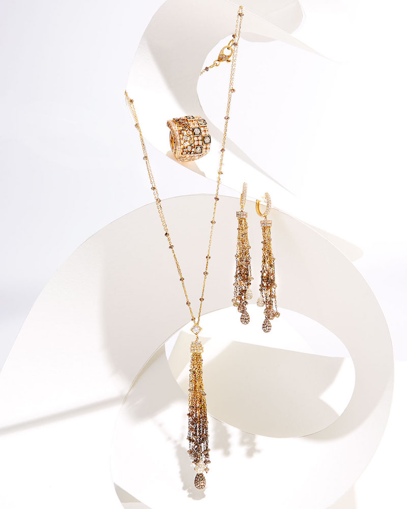 Mariani 18K Gold Tassel Necklace with Brown & White Diamonds