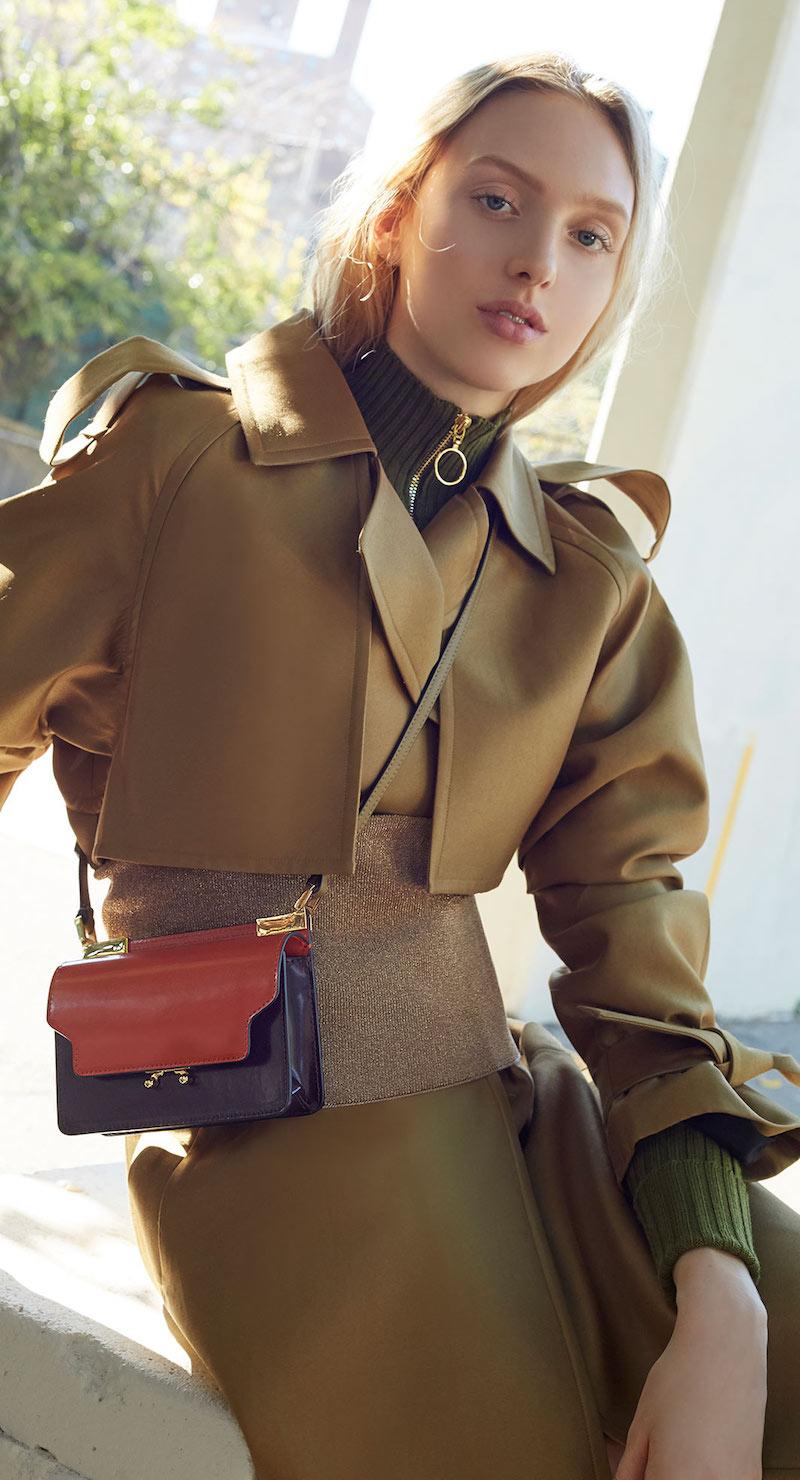 Marni Patent-Trimmed Leather Shoulder Bag