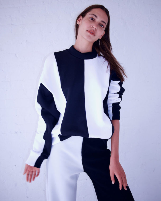 Marques'Almeida Black & White Colorblocked Turtleneck