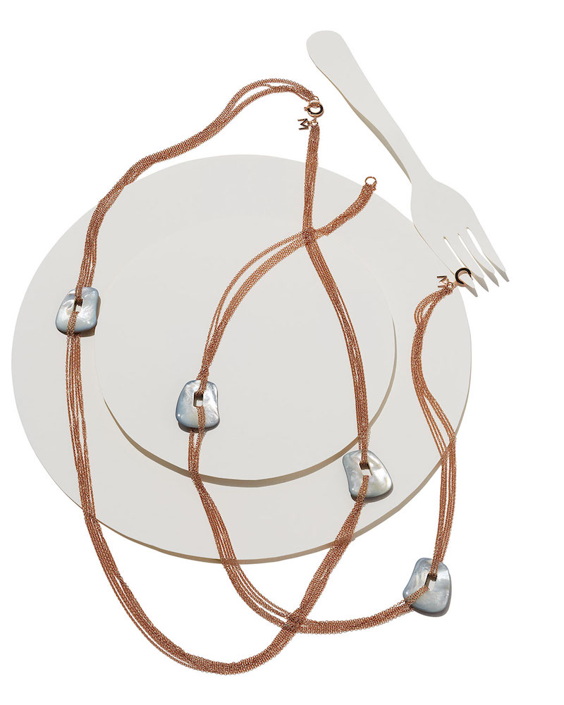 Mattioli Puzzle Six-Strand Mother-of-Pearl Necklace in 18K Rose Gold