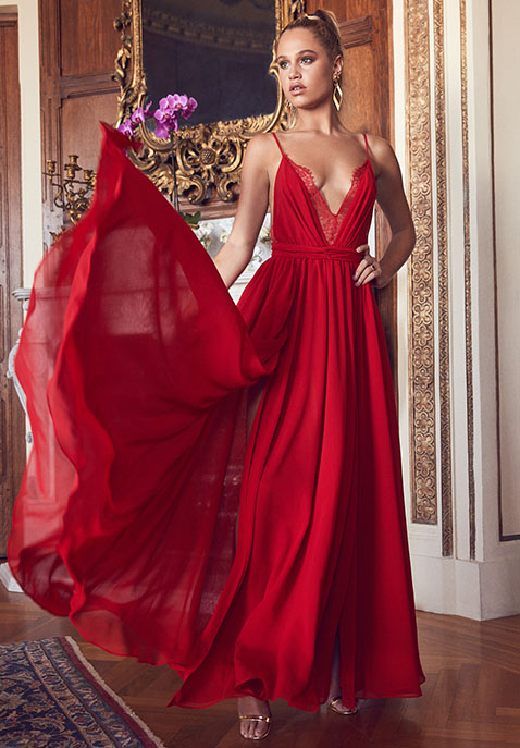 Michael Costello x REVOLVE Justin Gown in Red