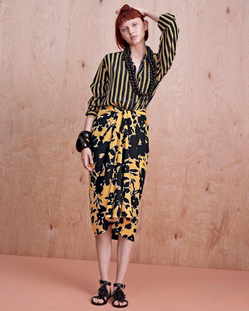 Michael Kors Collection Tropical Floral-Print Sarong Skirt