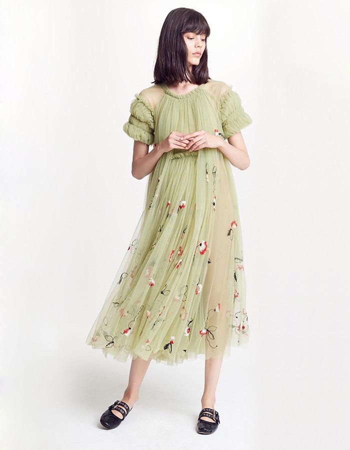 Molly Goddard Doris Embroidered Tulle Dress