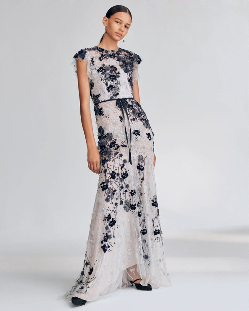 Monique Lhuillier Beaded Cap-Sleeve Chiffon Gown