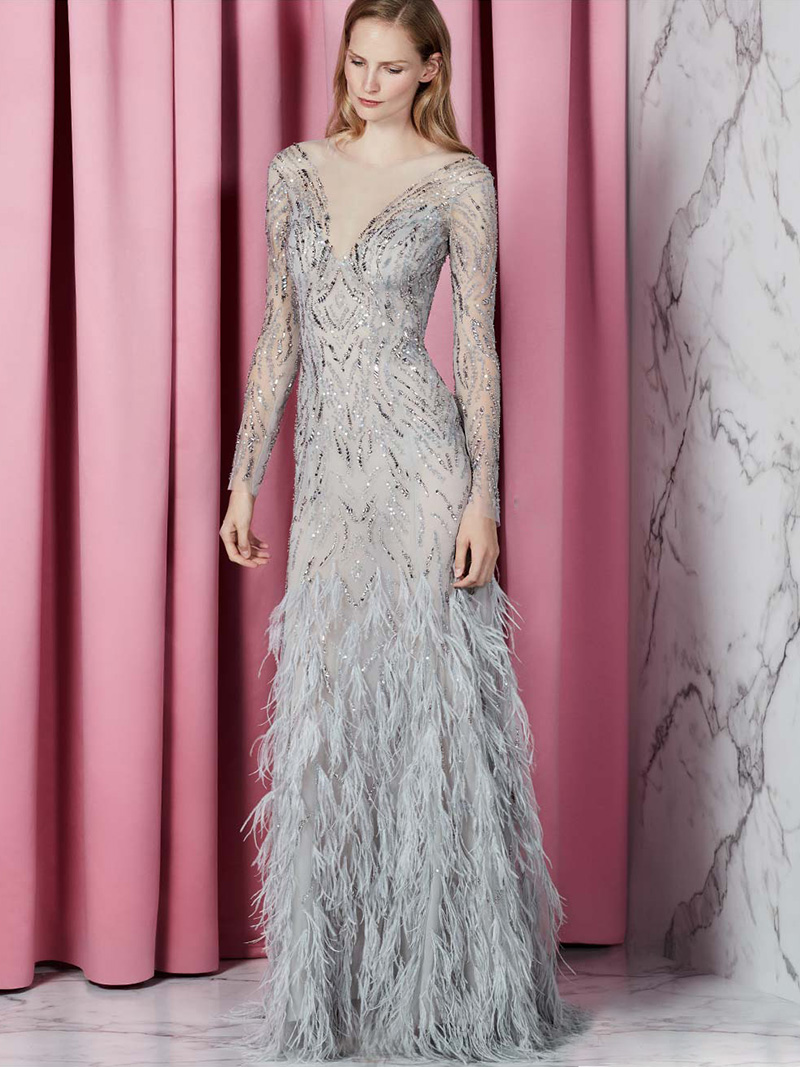 Monique Lhuillier Embellished Long-Sleeve Illusion Evening Gown with Feather Skirt