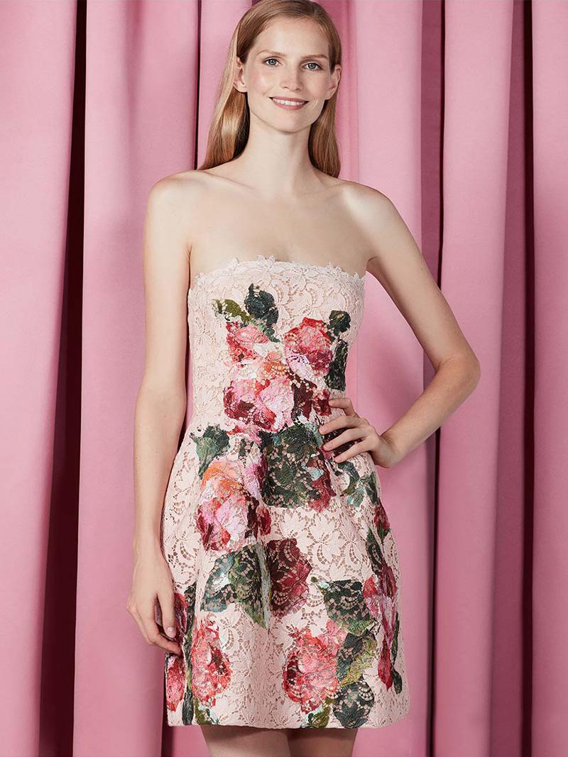 Monique Lhuillier Strapless Floral Lace Cocktail Dress
