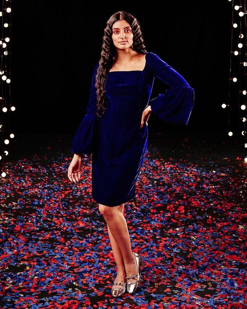Morv Bell-Sleeve Velvet Dress