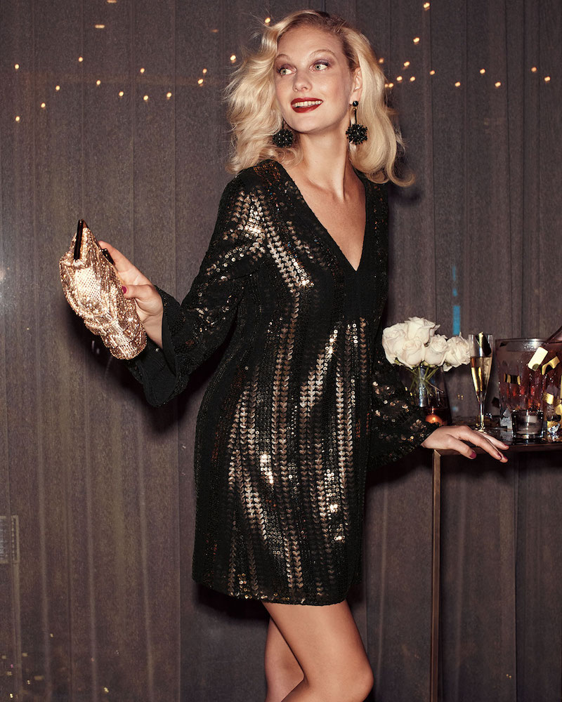 Nanette Lepore Lady Marmalade V-Neck A-Line Sequined Mini Cocktail Dress